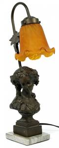 NEOCLASSICAL BRONZE AND ART GLASS TABLE LAMP