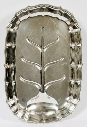 FRANK SMITH SILVER CO CHIPPENDALE MEAT PLATTER