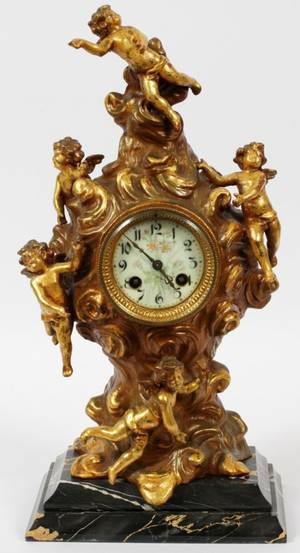 FRENCH GILT BRONZE  MARBLE MANTEL CLOCK