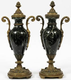 FRENCH MARBLE  BRONZE MOUNTED COVERED URNS