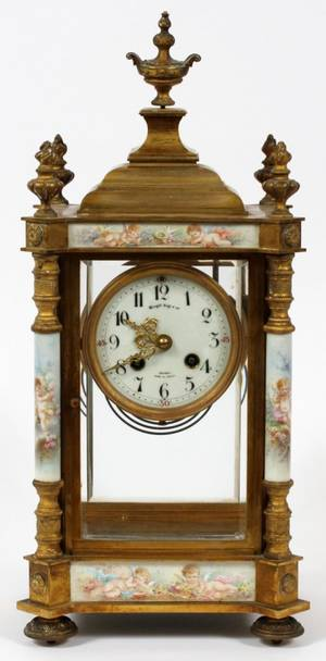 FRENCH GILT BRONZE  PORCELAIN MANTEL CLOCK C 1900