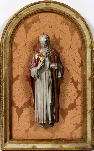 ITALIAN GLAZED POTTERY FIGURE OF A SAINT