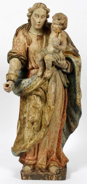 CONTINENTAL CARVED WOOD  POLYCHROME SANTOS FIGURE