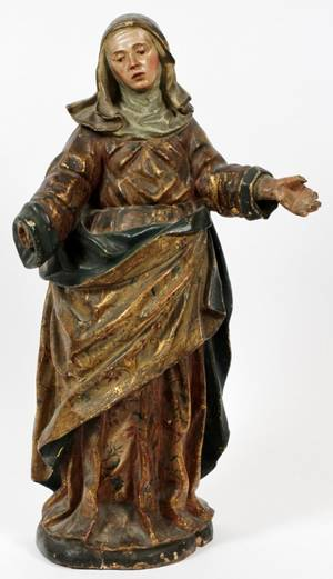 SPANISH CARVED WOOD  POLYCHROME SANTOS FIGURE