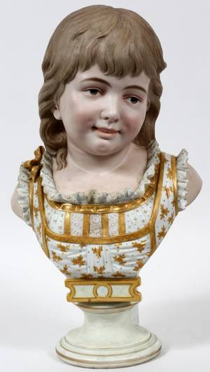 FRENCH BISQUE BUST OF CHILD C 1880
