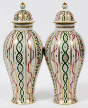 DRESDEN PORCELAIN COVERED URNS EARLY 20TH C PAIR