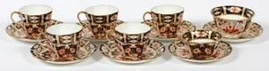 ROYAL CROWN DERBY PORCELAIN TEA CUPS  SAUCERS