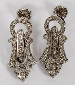 ART DECO STYLE 14KT WHITE GOLD  DIAMOND EARRINGS