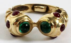 14KT YELLOW GOLD EMERALD  RUBY RING SIZE 625