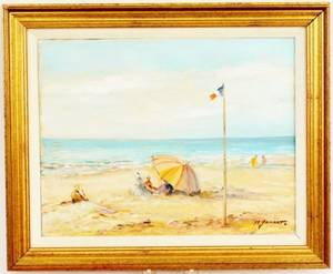 Michel Jamart Beach Oil on Canvas