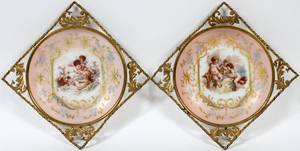 VICTORIAN ENAMELED GLASS WALL HANGINGS 19TH C