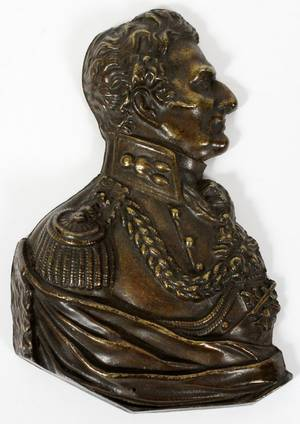 BRONZE PORTRAIT PLAQUE LATE 19TH C FRENCH GENERAL