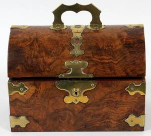 ENGLISH BURL WALNUT TEA CADDY MID 19TH C
