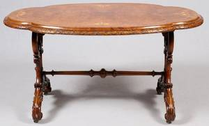 ENGLISH REGENCY CARVED WALNUT OVAL TABLE 19TH C