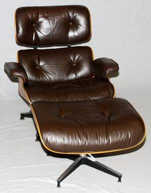CHARLES  RAY EAMES LEATHER LOUNGE CHAIR  OTTOMAN