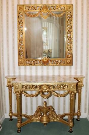 LOUIS XVI STYLE GILT WOOD CONSOLE TABLE  MIRROR