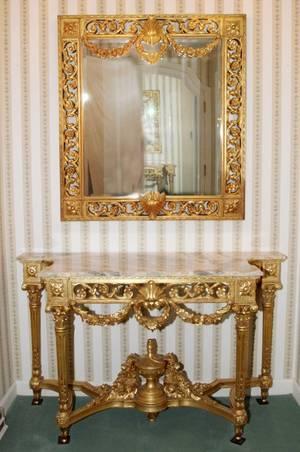 LOUIS XVI STYLE GILT WOOD CONSOLE TABLE  MIRROR
