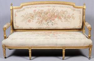 FRENCH LOUIS XVI STYLE GILT WOOD  AUBUSSON SETTEE