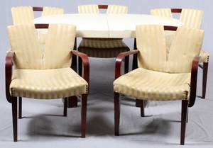 PAUL FRANKL MID CENTURY MODERN TABLE  CHAIRS 6 PCS