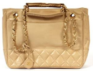 CHANEL QUILTED TAN LEATHER HANDBAG
