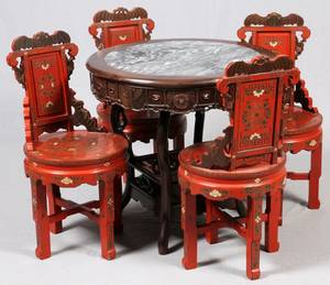CHINESE RED LACQUER  TEAKWOOD TABLE  CHAIRS 5 PCS