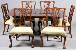 BAKER FURNITURE CO MAHOGANY DINING SET MID 20TH C