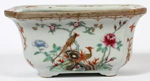 CHINESE PORCELAIN CACHE POT ON TEAK STAND C 1900