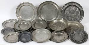 ENGLISH AMERICAN  CONTINENTAL PEWTER PLATES