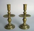 Pair of brass heemskirk candlesticks 17th c
