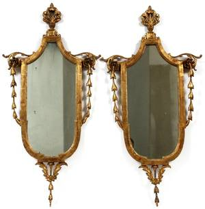 ITALIAN CARVED GILT WOOD WALL MIRRORS 20TH C PAIR