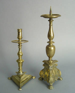 Italian brass pricket stick 17th c