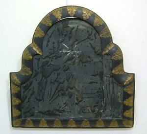 English carved gilded and ebonized mirror early 18th c