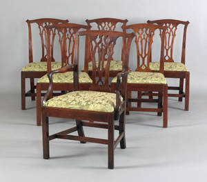 Set of 6 George III mahogany dining chairs ca 1770