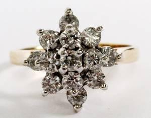 14KT WHITE  YELLOW GOLD  DIAMOND CLUSTER RING