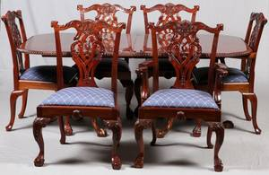 MAHOGANY BANQUET DINING TABLE  SET OF CHAIRS