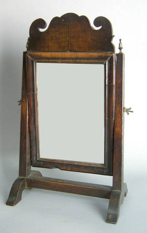 Queen Anne mahogany shaving mirror 18th c