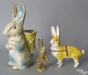 Three composition rabbit candy containers