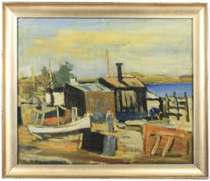 Signed Mid Century Modern Painting At The Marina
