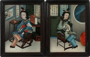 CHINESE REVERSE PAINTINGS ON GLASS 19TH C PAIR