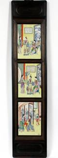 CHINESE PORCELAIN PLAQUES IN TEAKWOOD FRAME 19THC