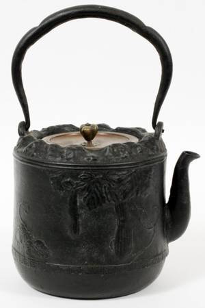JAPANESE IRON TEAPOT W BRONZE COVER