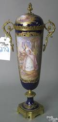 French cobalt ground urn with bronze dore mounts