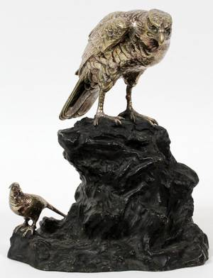 PATINATED BRONZE BIRD SCULPTURE