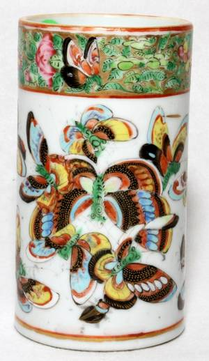 CHINESE EXPORT BIRD  BUTTERFLY PORCELAIN BRUSH POT