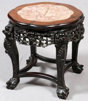 CHINESE CARVED TEAKWOOD  MARBLE TOP TABLE