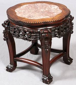 CHINESE CARVED TEAKWOOD  MARBLE TOP SIDE TABLE
