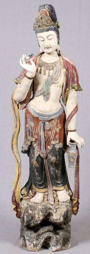 ORIENTAL CARVED WOOD  POLYCHROME FIGURE OF GUANYIN