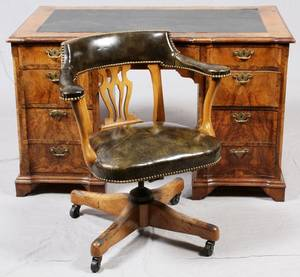 BURL WOOD LEATHER TOP EXECUTIVE DESK  CHAIR TWO