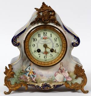MARTI ET CIE FRENCH PORCELAIN MANTEL CLOCK