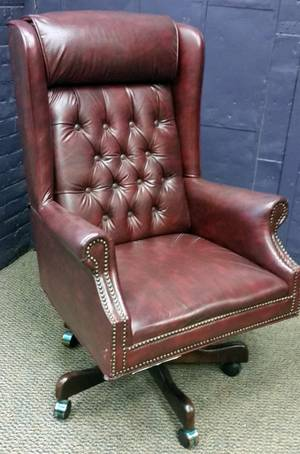 HICKORY FURNITURE CO LEATHER EXECUTIVE DESK CHAIR